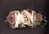 White & Ecru Satin Rose Headpiece